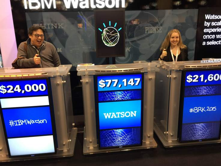 Krista playing Jeopardy against IBM Watson (Photo credit: Krista Sande-Kerback)