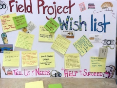 The wish list board where field projects could put up sticky notes of their current needs.